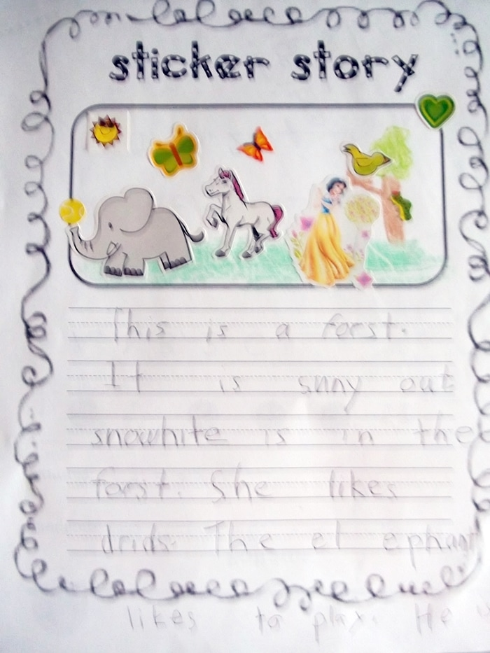 Sticker Story Writing - Free, Year Long Literacy Center Activity