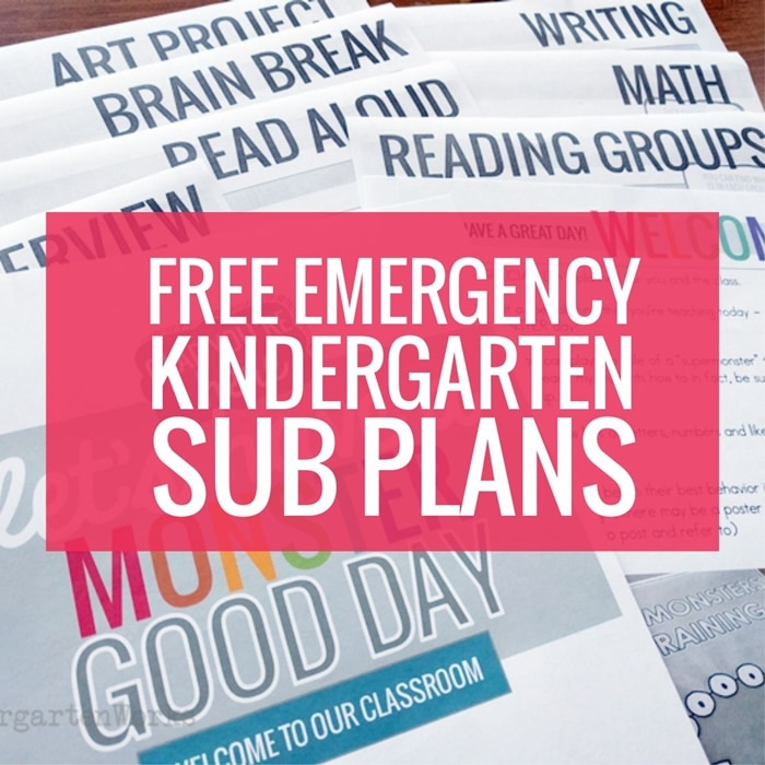 Supermonsters Training Day - easy beginning of the year emergency sub plans for kindergarten