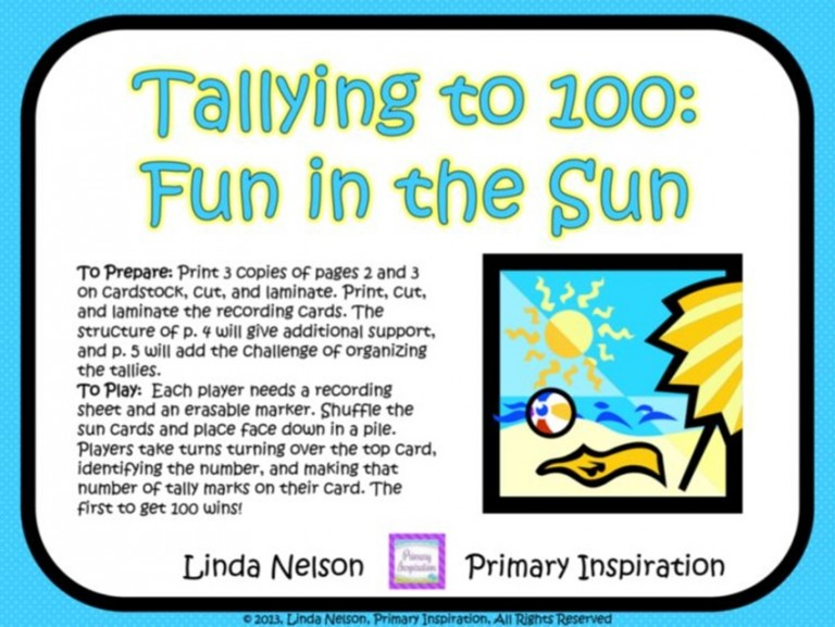 Tally to 100 Freebie - Teach Junkie