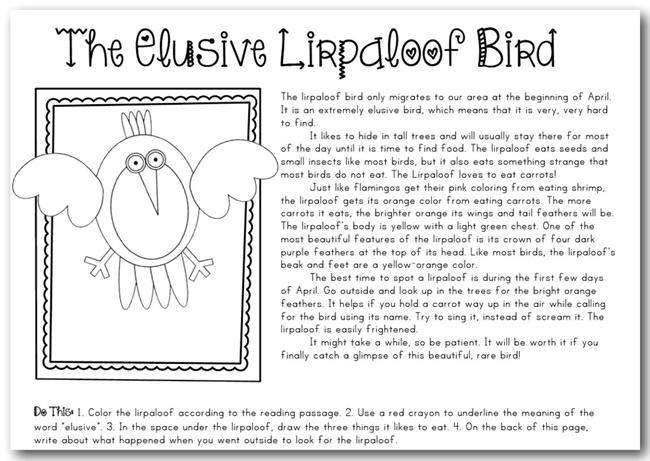 The Elusive Lirpaloof Bird - Teach Junkie