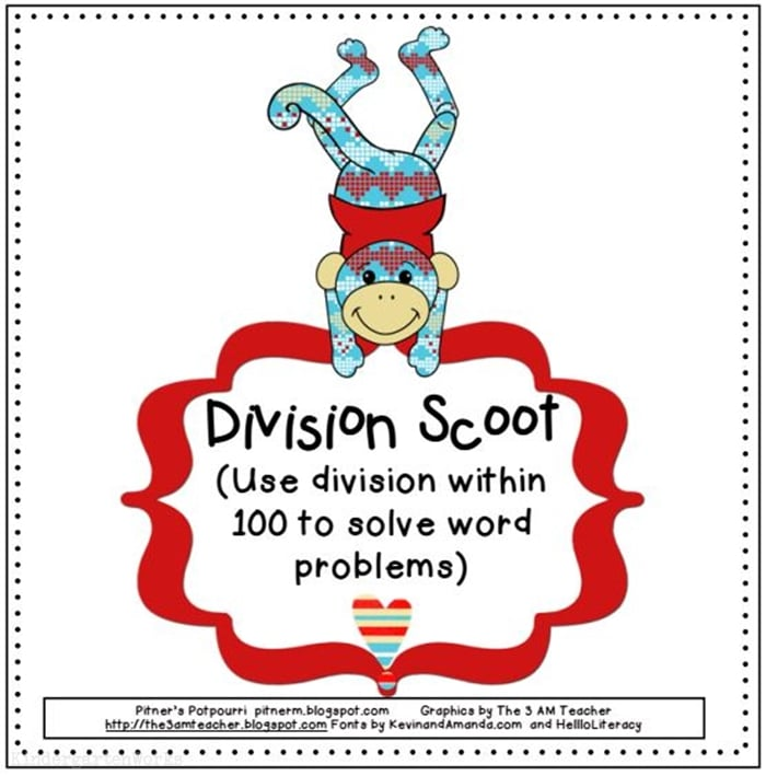photo about Division Game Printable named Valentine Section Scoot Recreation Printable - Practice Junkie