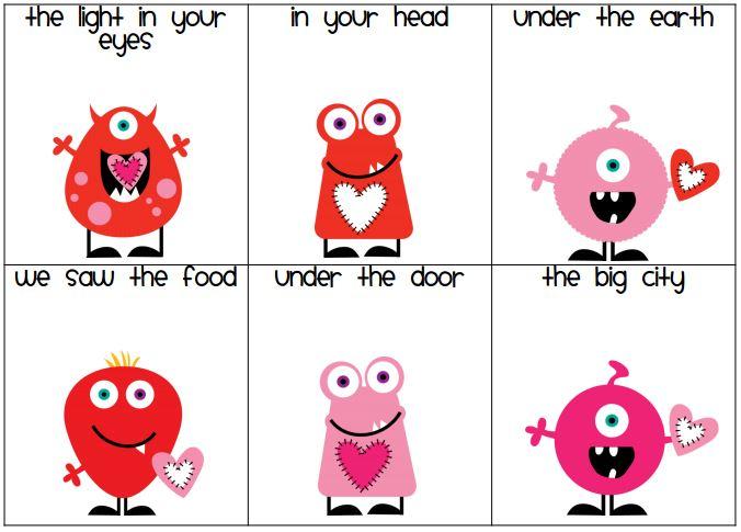 Valentine Fry Fluency Phrases - Teach Junkie