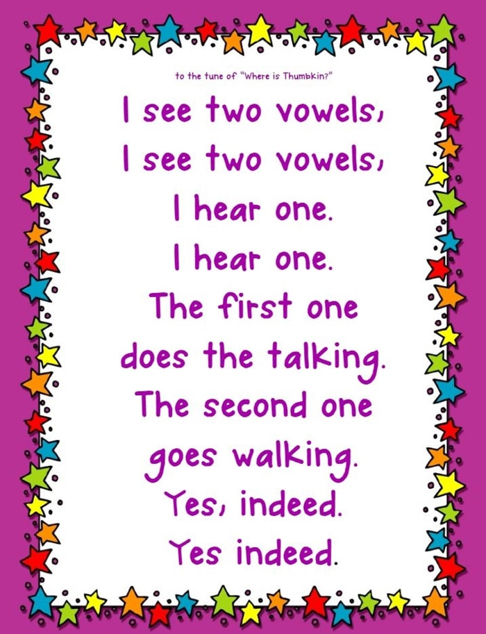 Vowel Teams Songs and Flash Cards