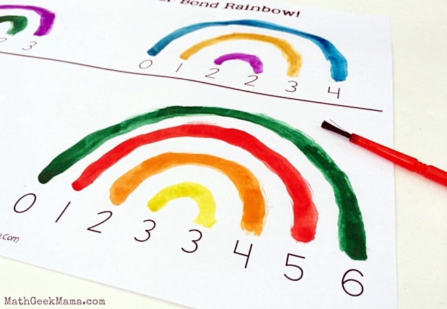 Watercolor Number Bonds Activity - Teach Junkie