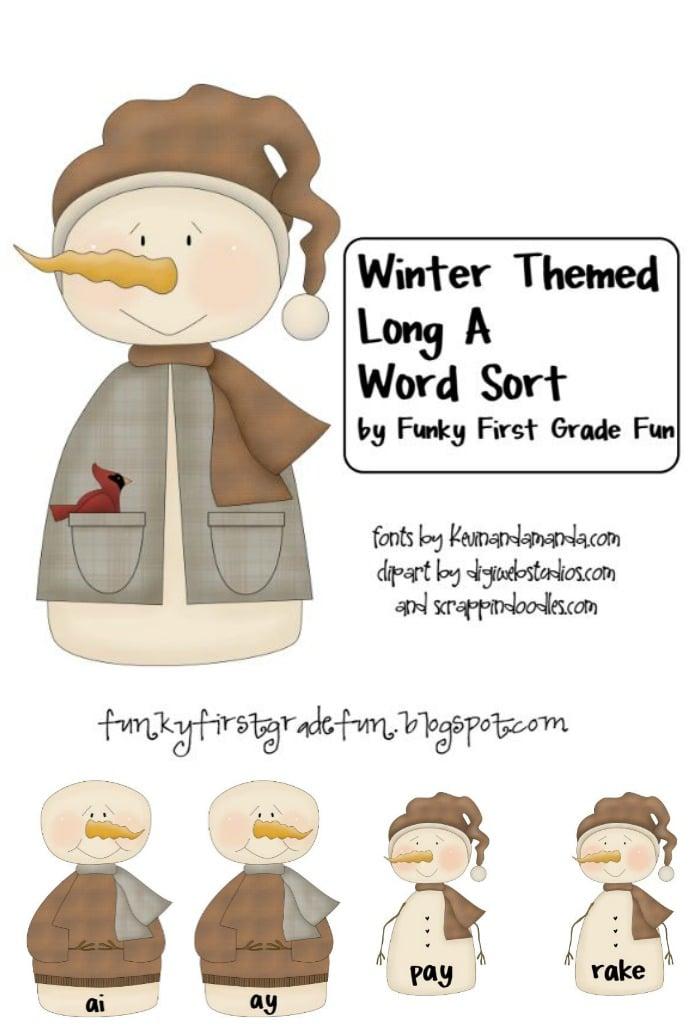 Winter Themed Long A Word Sort Freebie