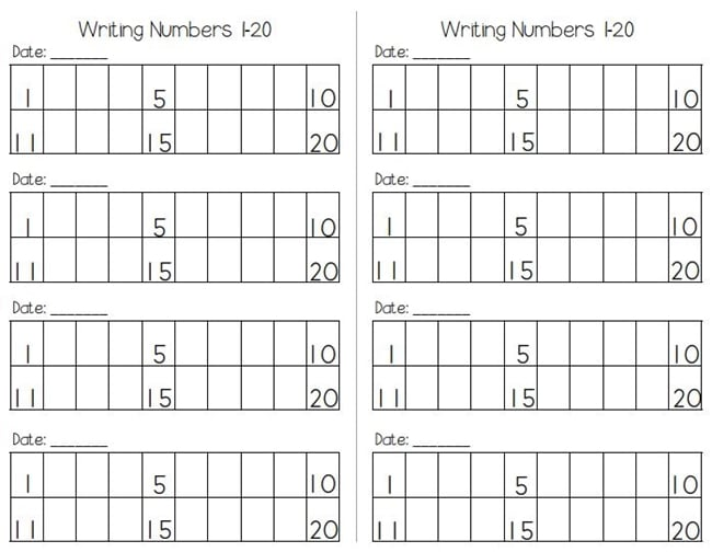 Writing Numbers to120 Free Worksheets - Teach Junkie