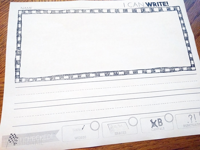 Writing Paper With Editing Checklist FREEBIE for kindergarten or first grade