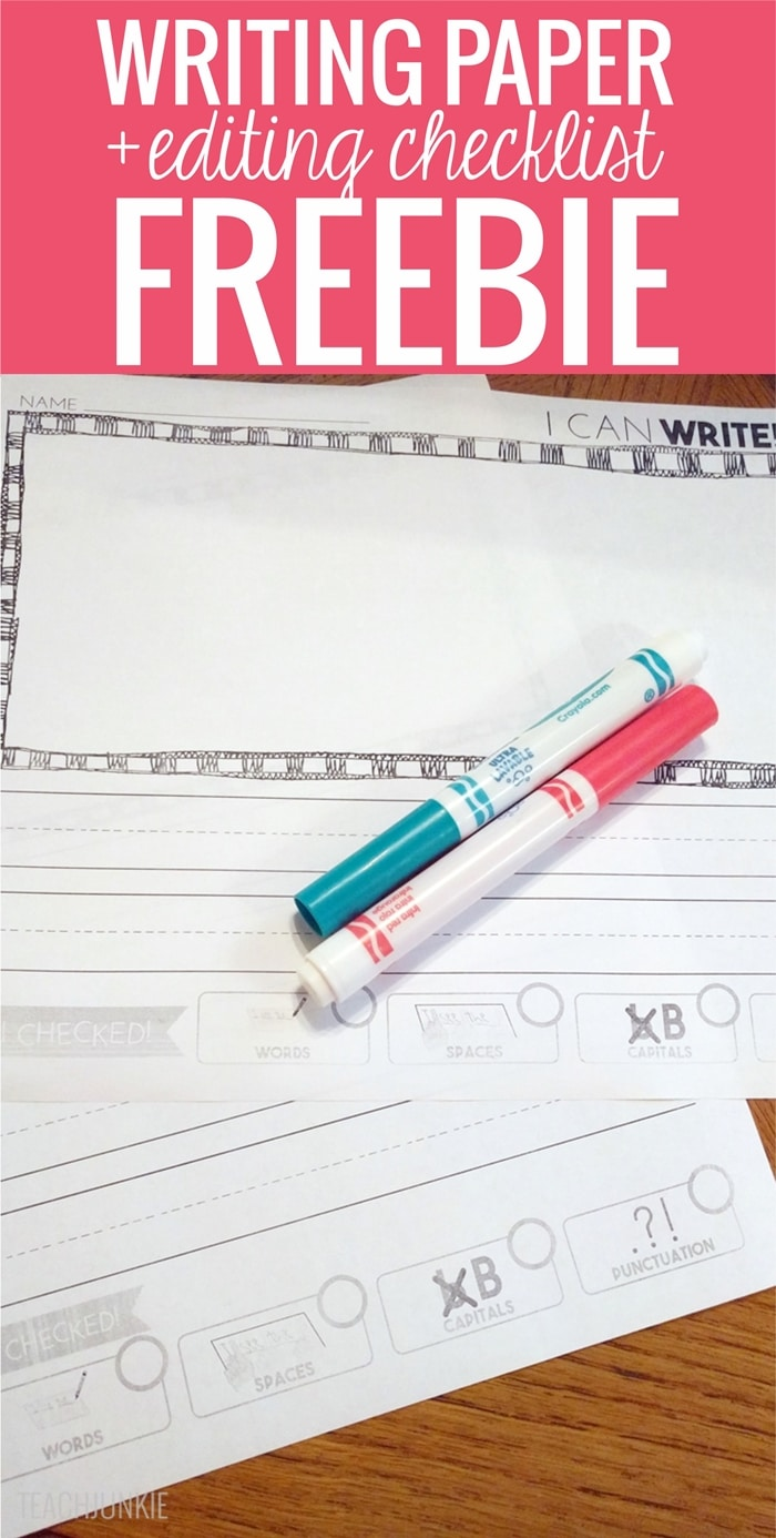 Writing Paper With Editing Checklist FREEBIE template both portrait and landscape