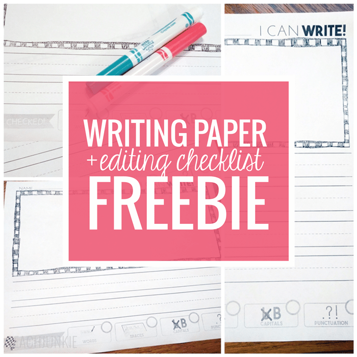 Writing Paper With Editing Checklist FREEBIE