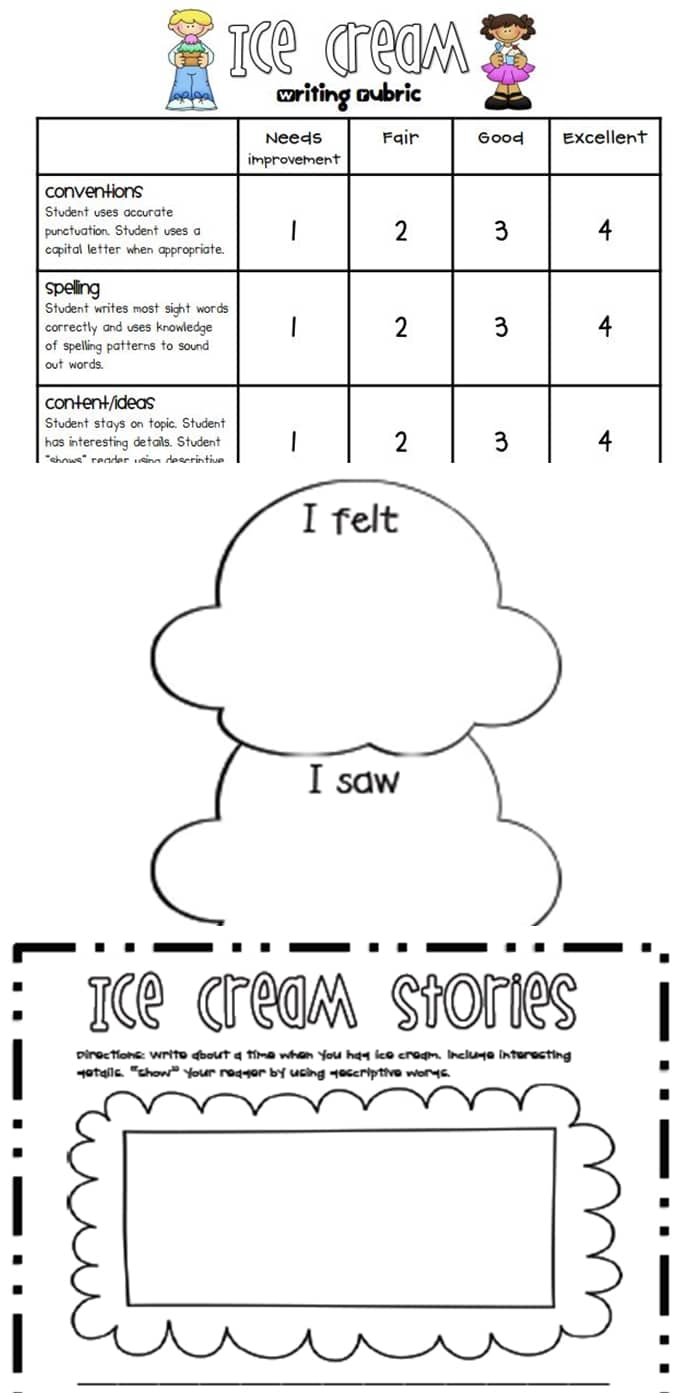 Writing Rubrics for Primary Grades - free Ice cream small moments Lucy Calkins writing rubric