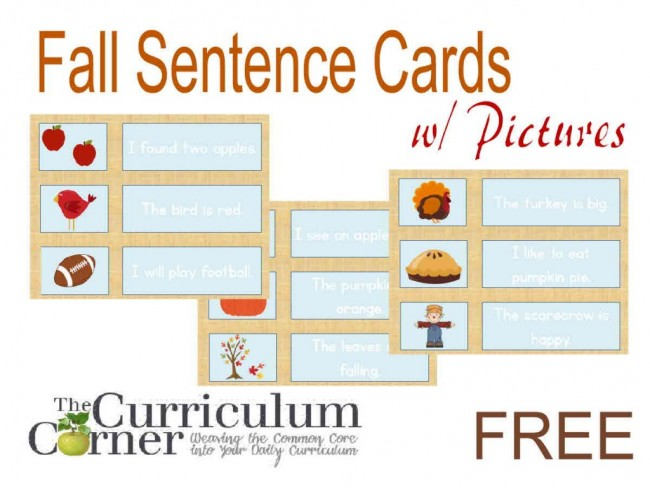 Fall Sentences Pocket Chart Match Up - Teach Junkie