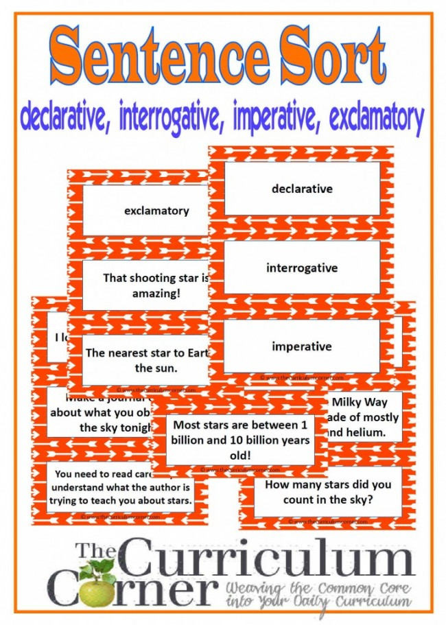 Sort Declarative, Interrogative, Imperative & Exclamatory Sentences Activity - Teach Junkie