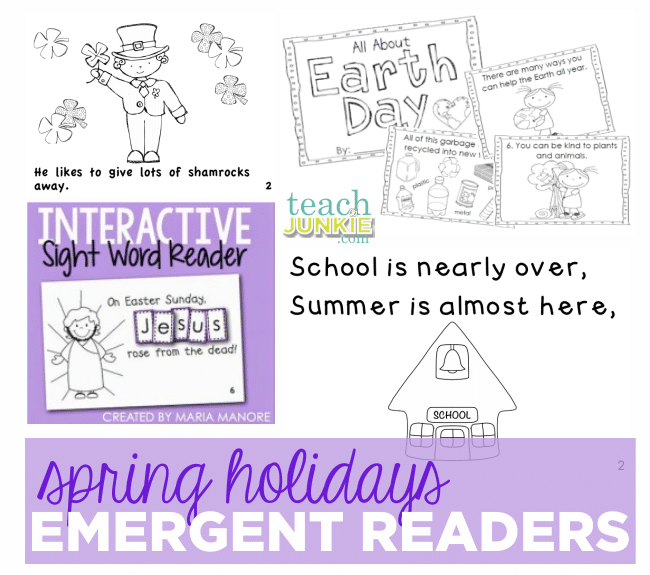 Spring Holidays Emergent Readers - Teach Junkie.com :: St. Patrick's Day, Earth Day, Easter, End of the Year