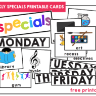 Weekly Specials Schedule Cards Free Printable