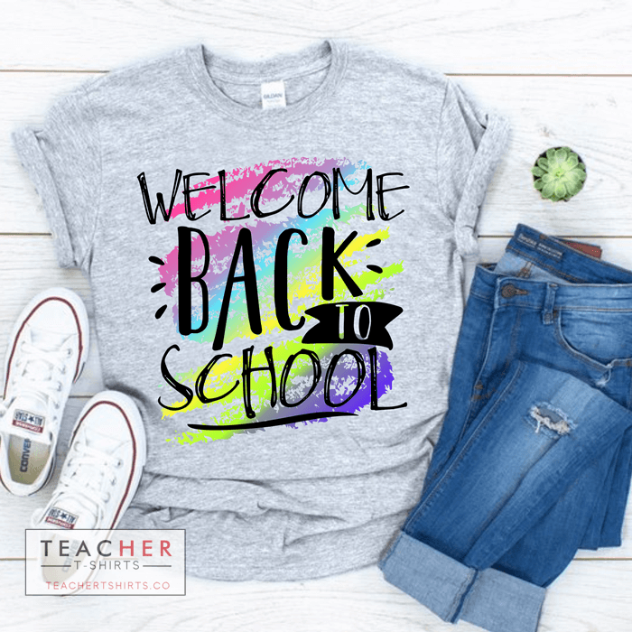 welcome back to school crayon cutre teacher t-shirt personalized with teacher names