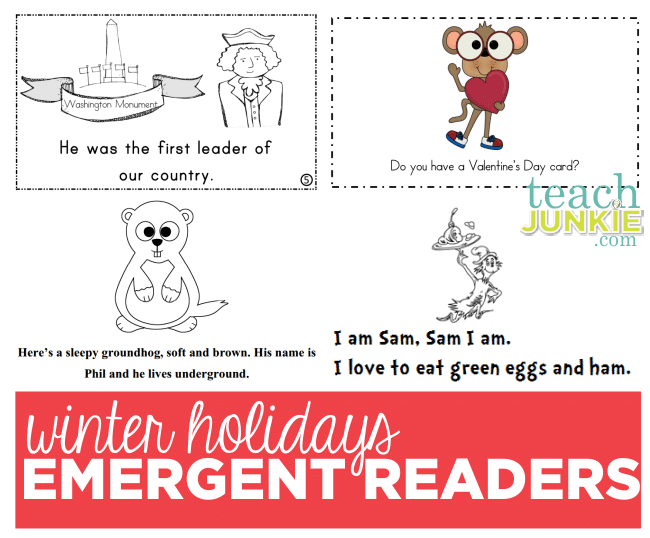 Winter Holidays Emergent Readers - Teach Junkie.com :: President's Day, Valentine's, Groundhog Day, Dr. Seuss