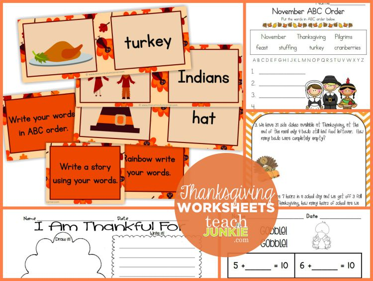 Worksheets for Kids Thanksgiving - TeachJunkie.com